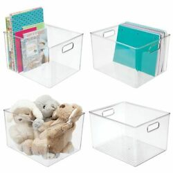 mDesign Storage Organizer Bin with Handles - for Cube Furniture - Clear