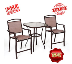 Outdoor Bistro Set  Patio Chairs And Table Backyard Deck Furniture