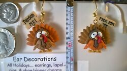 Thanksgiving Turkey dangle hook Earrings Choice 4 color styles Ear Decorations