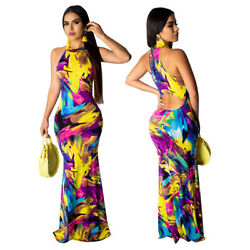 Sexy Women Print Halter Backless Dress Casual Beach Party Cocktail Maxi Dress