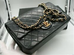 %100 AUTHENTIC CHANEL QUILTED BLACK LAMB SKIN CHAIN STRAP SHOULDER BAG. 10