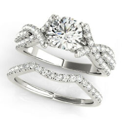 4.50 CT ROUND MOISSANITE FOREVER ONE PAVE CROSS BAND ENGAGEMENT WEDDING RING