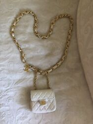 Auth CHANEL Quilted CC Chain Mini Micro  Bum Bag Waist Pouch WHITE Leather VTG