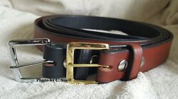 Handmade Amish Leather Work Belt for Men or Women with Plain Square Buckle $39.00