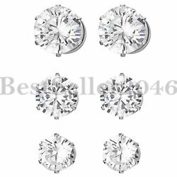 3 Pairs Men Women Round Cut Clear Cubic Zirconia Magnetic Earrings Non-piercing