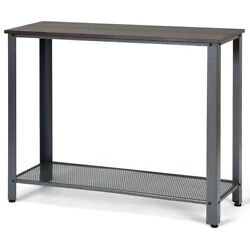 Console Sofa Table W Storage Shelf Metal Frame Wood Look Entryway Table Silver $75.99