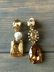 Oscar De La Renta  Gold Tone  Crystal With Pearl  Earrings signed