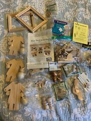 Large Lot Of Wooden Craft Items Folk Toy Doll Pins Cut Outs Frames