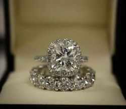 3.00Ct Cushion Diamond Engagement Wedding Halo Bridal Set 14k White Gold Finish