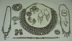 Vintage-Recent Lot 44pc Rhinestone Jewelry Brooches Earrings Necklaces  + Nice!