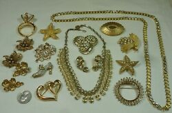 Vintage-Recent Lot 48pc Rhinestone Jewelry Brooches Earrings Necklaces  + Nice!