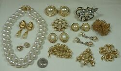Vintage-Recent Lot 40pc Rhinestone Jewelry Brooches Earrings Necklaces  + Nice!