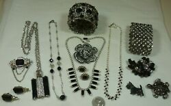 Vintage-Recent Lot 43pc Rhinestone Jewelry Brooches Earrings Necklaces  + Nice!