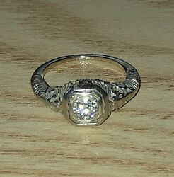 100 YEAR OLD EUROPEAN BASKET SETTING 18K WHITE GOLD DIAMOND RING ANTIQUE