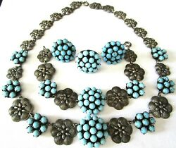 Gorgeous Turquoise Silver Medallion Vintage Necklace Bracelet Earring Ring Set