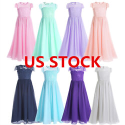 US Flower Girl Dress Princess Formal Party Wedding Birthday Bridesmaid Prom Gown