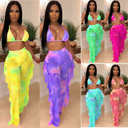 Sexy Women Print Mesh Perspective Halter Bikini Casual Beach Slim Swimsuit 2pcs