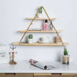 3 Tier Wooden Triangle Wall Mount Rack Storage Display Shelf Home Office Decor