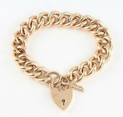 Vintage Heavy Solid 9Ct  Gold Curb Link Chain Charm Bracelet 79.6g