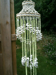 Chandelier Yellow Nassa Sea Shell Hanging Windchime Design in Lime and Ivory $49.00