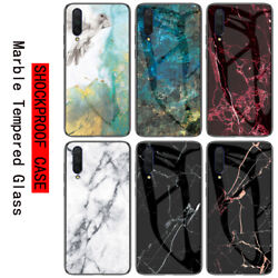 For Huawei Honor 9X Pro 8 9 10 Lite Marble Tempered Glass Hard Back Case Cover
