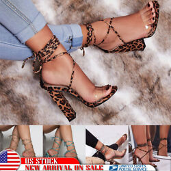 Womens High Block Heels Sandals Lace Up Gladiator Ankle Strap Chunky Party Shoes