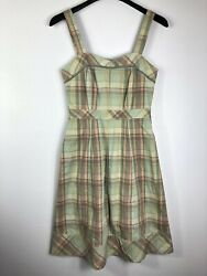 Fossil Womens Small Sundress A Line Sleeveless Green Plaid Lace Trim Fit  $20.00
