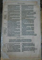 RARE NEW TESTAMENT LEAF FROM FIRST EDITION BISHOPS BIBLE 1568