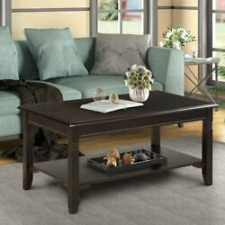 Wooden Black Coffee Table 2 Tiers Rectangle Solid Tea Table Living Room Decor