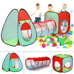 3 In 1 Baby Kids Play Tent Ball Pit Pool House Crawl Tunnel IndoorOutdoor Games