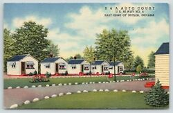Butler Indiana~D&A Auto Court~Cottage Cabins~Roadside Motel Route 6~1956 Linen