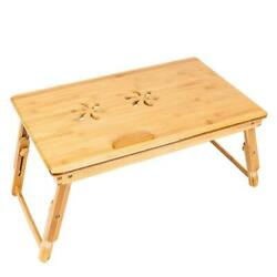 Bamboo Laptop Desk Table Folding Breakfast Bed Serving Tray with Small Drawer $24.95