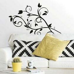 New SCROLL TREE BRANCH w FOIL LEAVES 57 WALL DECALS Modern Room Decor Stickers $15.99