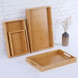 1pc Wooden Serving Tray with Handles for Breakfast Decor Ottoman Large Wood John