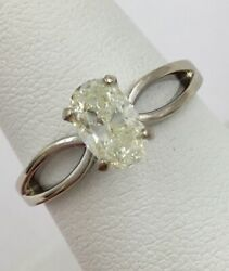 14K White Gold .85ct Oval Cut Diamond Solitaire Engagement Ring Size 8 I1 K-L