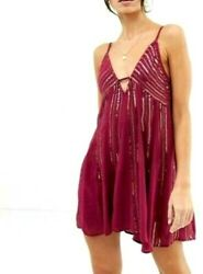 New Tag Free People Womens Medium Here She Is Dragon Fruit Purple Red Slip Dress