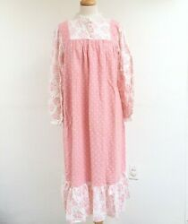 Lanz of Salzburg M Pink White Flannel Polka Dot Floral Nightgown Made in USA Vtg
