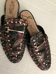 Sam Edelman Shoe Sz 7.5 Slide Great Condition Fabric Leather $22.00