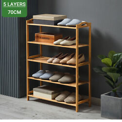 3 Tier Shoe Rack Wooden Bamboo Shelf Entryway Storage Simple Home Furniture