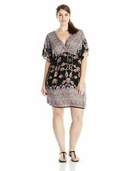 She's Cool Junior's Plus-Size Printed Rayon V-Neck Dress # 3X