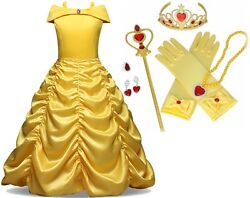 Beauty and Beast Kid#x27;s Yellow Princess Belle Costume Halloween Party Girl Dress $28.99
