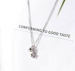 925 Sterling Silver Pave 0.2 Ct Cubic Zirconia Star & Bell Pendant Necklace