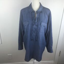 Chicos Womens Lace Up Chambray Denim Popover Shirt Tunic XL Sz 3 NWOT Blue LS