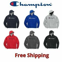 Champion Mens Classic Script Logo Pullover Hoodie Sweatshirt 6 Colors New S 2XL $39.99