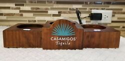 NEW Casamigos Tequila Three Bottle Lighted Glorifier Wooden Caddy Bar Display