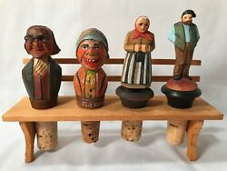 4 Vintage Hand Carved Wooden Wine Bottle Cork Stopper Display Anri Italy Germany