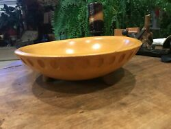 Vintage Munising Wooden Footed Dough Bowl With Designed Carvings-FREE SHIPPING