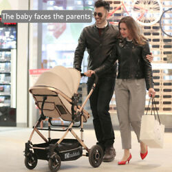 Luxury Newborn Baby Stroller Pushchair W Infant Car Seat Foldable Buggy Basket