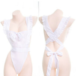 Sexy Maid Style Tie Nake Apron Women#x27;s See throught Dress Cute Exotic Apparel $18.99