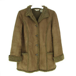 LL Bean M Medium Jacket Coat Womens Faux Suede Sherpa Lined Shearling Brown